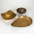 Dirk van erp etc three hammered metal pieces dirk van erp brass bowl together with two modernist vessels one with chased decoration van erp stamped largest illegibly signed  van erp 3 34 x