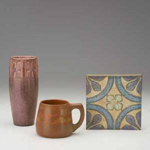 American art pottery three pieces rookwood vase in frothy aubergine 1923 walrath mug with apples and wheatley tile all marked tallest 8