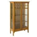 Arts  crafts twodoor china cabinet with three shelves early 20th c quartersawn oak and glass unmarked 56 12 x 34 x 15