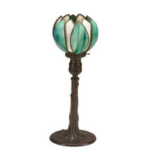 Handel lily table lamp with tree trunk base meriden ct c1920 patinated bronze leaded glass shade and base both marked handel 14 12 x 5 14 dia