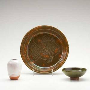 Ben owen jugtown pottery three pieces plate with incised fish cabinet vase and low bowl impressed circular marks plate 2 x 9 34 dia