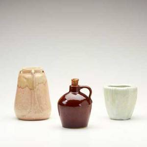 Arequipa roycroft three glazed ceramic vessels two arequipa vases and roycroft jug tallest unmarked tallest 6 34
