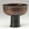 Harrison mcintosh b 1914 stoneware compote with scraped stripes through black engobe claremont california 1976 paper labels and hm stamp 5 12 x 6 12