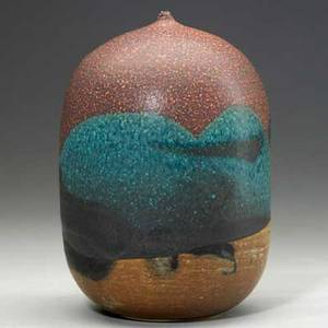 Toshiko takaezu 19222011 glazed stoneware moonpot clinton nj signed ptt 7 12 x 5 14