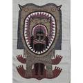 Edwin scheier wool weaving man in cats mouth mexico 1960s unsigned 55 x 38