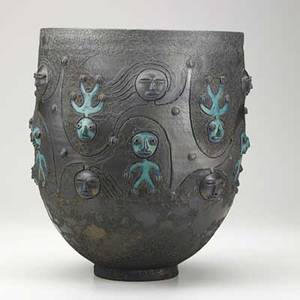 Scheier large glazed earthenware vessel with figures green valley arizona 1984 signed and dated 13 14 x 11