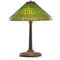 Tiffany studios tall table lamp with greek key shade new york 1900s leaded glass patinated bronze four sockets shade stamped tiffany studios new york 1916 base stamped tiffany studios new york
