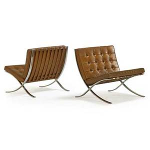 Ludwig mies van der rohe 1886  1969 knoll associates pair of barcelona lounge chairs new york 1960s stainless steel leather remnants of upholstery labels 29 12 x 29 x 30