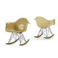 Charles eames 1907  1978 ray eames 1912  1988 herman miller pair of rocking chairs rar zeeland mi 1950s plastic reinforced fiberglass enameled steel birch rubber unmarked 27 x 25