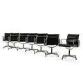 Charles eames 1907  1978 ray eames 1912  1988 herman miller seven soft pad chairs zeeland mi 1960s polished aluminum enameled steel leather frames embossed upholstery labels 33 12