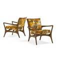 Vladimir kagan b 1927 kagandreyfuss pair of lounge chairs no 175c new york 1950s sculpted walnut jack lenor larson velvet 30 x 26 x 30