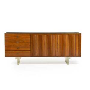 Vladimir kagan b 1927 kagandreyfuss cabinet new york 1960s walnut koa acrylic patinated metal unmarked 30 x 72 x 18 12 provenance original owner purchased from the artist
