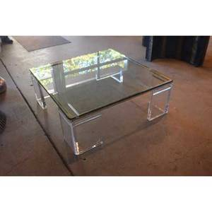 Lion in frost coffee table usa 1970s acrylic glass signed 15 x 42 sq