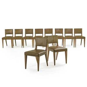 Kerry joyce dessin fournir ten trent chairs los angeles 2000s leather bleached walnut upholstery labels 31 x 17 12 x 21 provenance original owner purchased from the artist