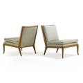 Th robsjohngibbings 1905  1976 widdicomb pair of lounge chairs grand rapids mi 1950s bleached walnut upholstery unmarked 31 x 26 12 x 35