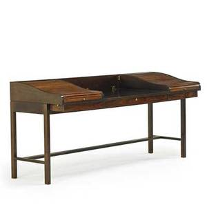 Edward wormley 1907  1995 dunbar tambour desk no 912 berne in 1950s lacquered mahogany rosewood leather brass unmarked 35 x 74 34 x 28