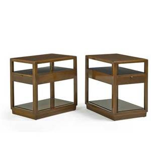 Edward wormley 1907  1995 dunbar pair of side tables no 4774b berne in 1940s walnut patinated brass painted metal labels 23 14 x 16 x 23