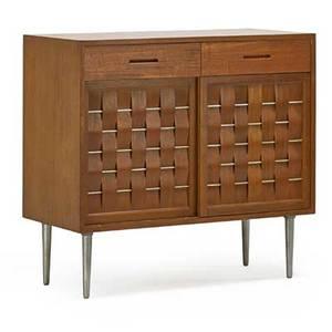 Edward wormley 1907  1995 dunbar twodoor cabinet berne in 1940s mahogany aluminum unmarked 38 x 41 12 x 18