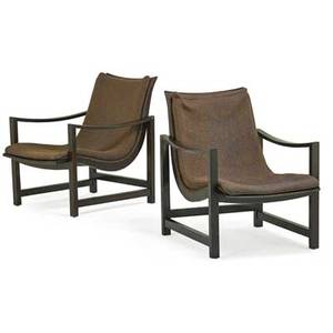 Edward wormley 1907  1995 dunbar pair of lounge chairs berne in 1960s stained and lacquered ash brass wool dunbar label to one 30 x 24 x 33
