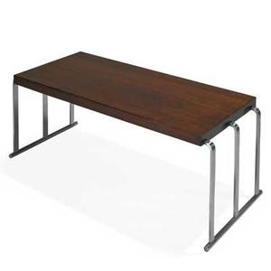 Gilbert rohde 1894  1944 herman miller coffee table zeeland mi 1940s east indian laurel walnut mattechromed steel metal retailer label stenciled numbers 16 x 43 x 18