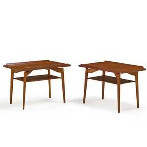 Arne vodder 1926  2009 sibast pair of tiered side tables denmark 1960s teak oak each branded george tanier 20 12 x 30 x 18 12