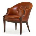 Frits henningsen 1889  1965 lounge chair denmark 1940s mahogany leather unmarked 31 x 26 x 28