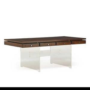Poul norreklit georg petersens desk denmark ca 1970 acrylic rosewood chromed steel branded 29 12 x 71 x 35 12