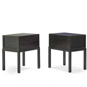 Christian liaigre holly hunt pair of mystere twodrawer nightstands new york 2000s stained and lacquered oak metal labels 27 34 x 24 12 x 18