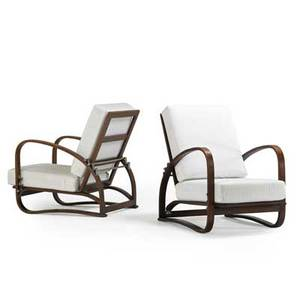 Jindrich halabala 1903  1978 pair of lounge chairs czechoslovakia 1940s stained oak nickeled brass upholstery unmarked as shown 36 x 26 x 40 literature jindrich halabala a spojene ume