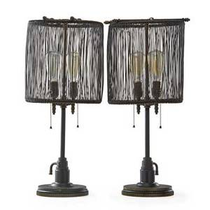 Jason wein b 1970 cleveland art pair of table lamps cleveland oh 2012 reclaimed and patinated industrial metal parts two sockets unmarked 26 x 12 dia