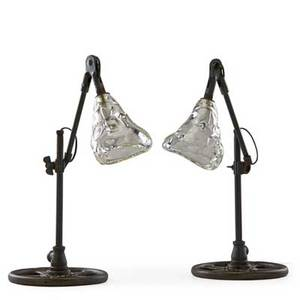 Jason wein b 1970 cleveland art adjustable floor lamp and pair of adjustable table lamps cleveland oh 2012 reclaimed and patinated industrial metal parts blown glass single sockets shades