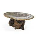 American studio table 1990s redwood root burl petrified wood unmarked 27i x 68i x 42i