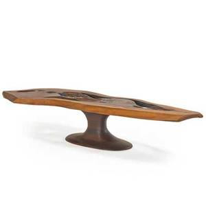 James martin attr coffee table new hope pa 1960s laminated sculpted and carved walnut unmarked 13 34 x 72 12 x 20 12