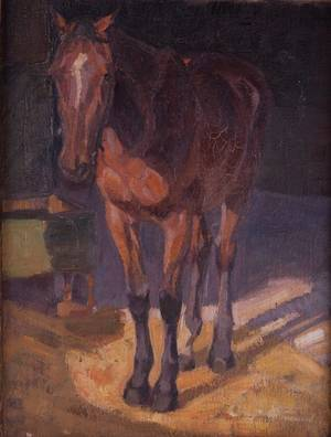 Franz Jakob Elmiger Oil on Board of Horse