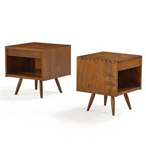 George nakashima 1905  1990 nakashima studios two walnut nightstands new hope pa 1965 unmarked larger 21 x 20 x 20 provenance available copy of original order card for one nightstand