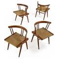 George nakashima 1905  1990 nakashima studios set of four grassseated chairs new hope pa 1957 walnut grass cord unmarked 27 12 x 23 14 x 19 12 provenance available copy of origina