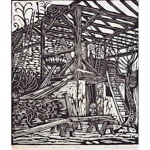 Wharton esherick 1887  1970 woodblock print on rice paper from song of the broad axe building paoli pa signed titled numbered 18 also signed in image image 9 12 x 8 14