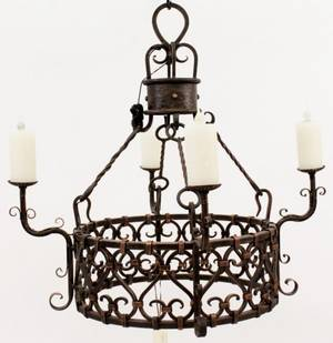 Round Iron 4 Light Rome Chandelier