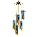 Hansagne jakobsson b 1919 chandelier sweden 1960s brass glass five sockets unmarked overall from top of finial 35 x 10 shades 8 x 3