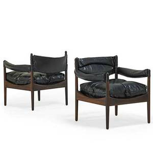 Kristian vedel 1923  2003 soren willadsen pair of modus lounge chairs denmark 1960s rosewood leather unmarked 26 x 30 x 24