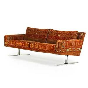 Dux sofa sweden 1970s jack lenor larsen upholstery chromed steel upholstery label 31 x 89 x 34