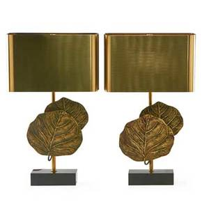 Maison charles pair of table lamps france 1950s patinated bronze brass two sockets impressed charles overall 20 x 12 x 6 14 bases only 12
