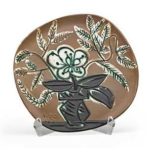 Pablo picasso 1881  1973 madoura glazed earthenware plate vase with bunch vase au bouquet france 1956 stamped madoura plein feu empreinte originale de picasso 185300 10 sq publicat