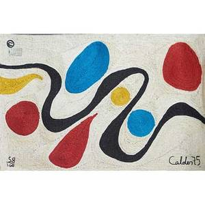 After alexander calder bon art maguey fiber tapestry turquoise guatemala 1975 embroidered calder 75 5810 fabric label 56 x 84 12