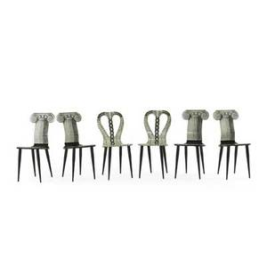 Piero fornasetti 1913  1988 set of six chairs two musicale and four capitello ionico italy 1990s printed and painted laminated wood enameled steel all with paper labels 37 x 16 12 x