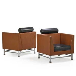 Ettore sottsass 1917  2007 knoll pair of lounge chairs usa 1980s leather enameled steel plastic manufacturers label 33 12 x 32 12 x 29
