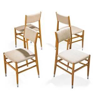 Gio ponti 1891  1979 cassina set of four leggera chairs milan italy 1950s ash aluminum upholstery metal label to one 33 x 17 x 19