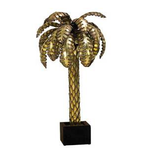 Italian palm tree floor lamp 1970s patinated brass upholstery five sockets unmarked 27 x 28 dia