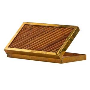 Gabriella crespi b 1922 hinged box italy 1970s bamboo brass stamped signature made in italy label 2 x 12 34 x 7 12