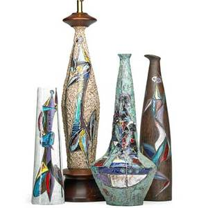 Marcello fantoni b 1915 four glazed earthenware vessels two lamp bases and two vasesall decorated with figures italy 1950s three marked fantoni italy one marked fantoni tallest vase for ray